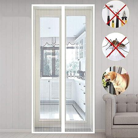 MENGH Mosquitera Magnética para Puertas 105x190 CM Cortina Mosquitera para Puertas Adsorción magnética Plegable Fácil de Instalar Bueno para Niños y Perros Blanco A: Amazon.es: Hogar