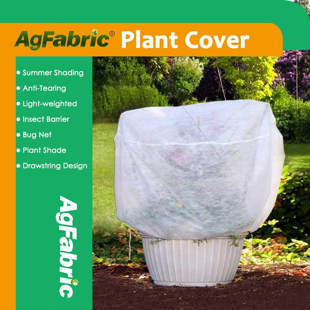 Agfabric Row Cover Plant Shade Protection Bags, 0.55oz Fabric of 30''x60'' Plant Cover for Bug/Insect Barrier, White
