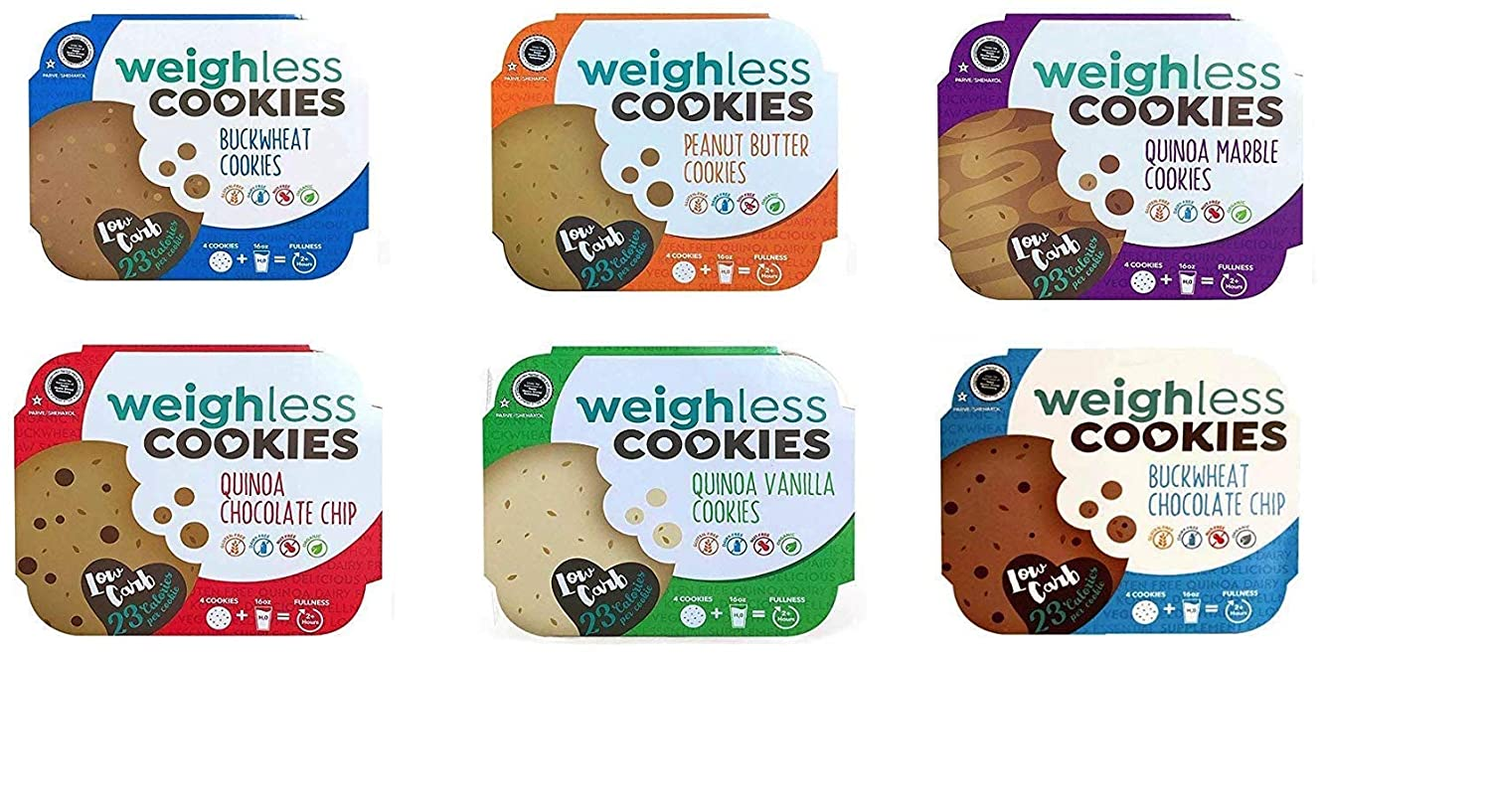 Weighless Cookies Gluten Free Low Carb Variety Pack 6 Flavors