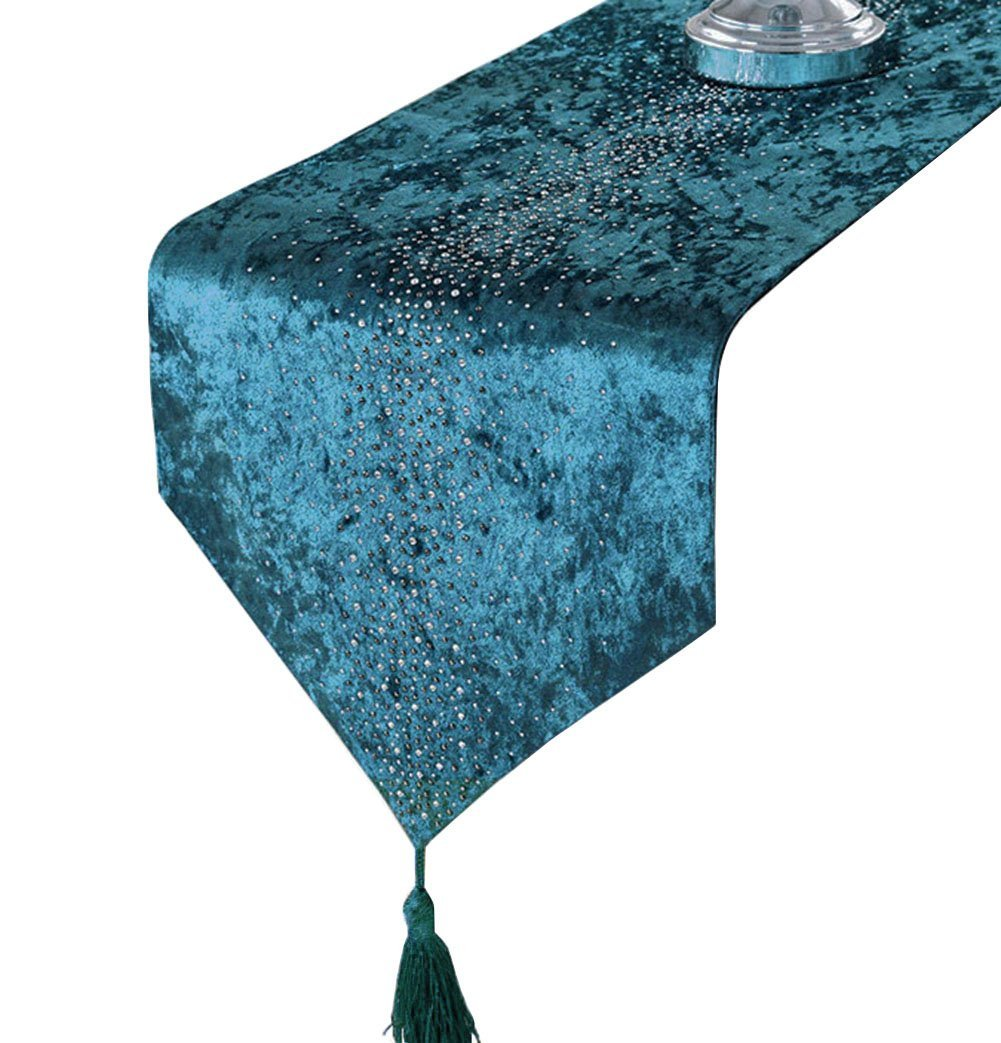 LivebyCare Multi-Size Bling Table Runners with Tassels Elegant Modern Fall Blue Table Runners for Home Decoration 64 Inches for Dresser Tea Table Decoration