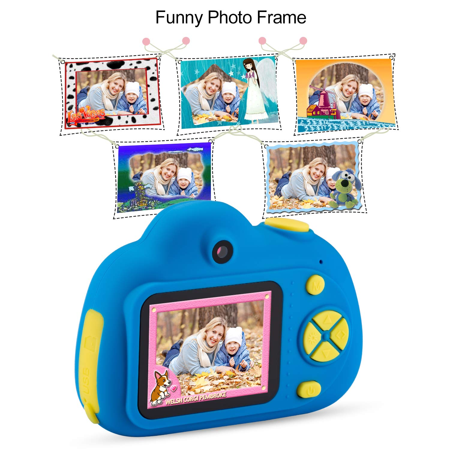Deeteck Kids Video Camera for Girls Boys, 2 inch Mini Digital Camera,Shockproof Children Camcorders, Toys for 5-9 year old Boys Birthday Gifts with 16GB SD Card(Blue) by Deeteck (Image #4)