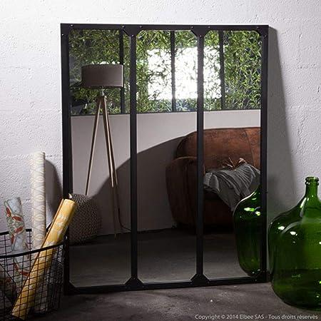Delamaison Miroir Fenetre Triptyque En Metal Rectangulaire 120x95cm Teke Noir Amazon Fr Cuisine Maison