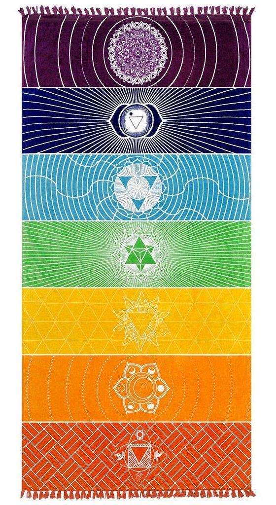Poshfeel Single Yoga Towels with Tassels Rainbow Chakra Tapestry Stripes Yoga Mats Beach Towel AST170001
