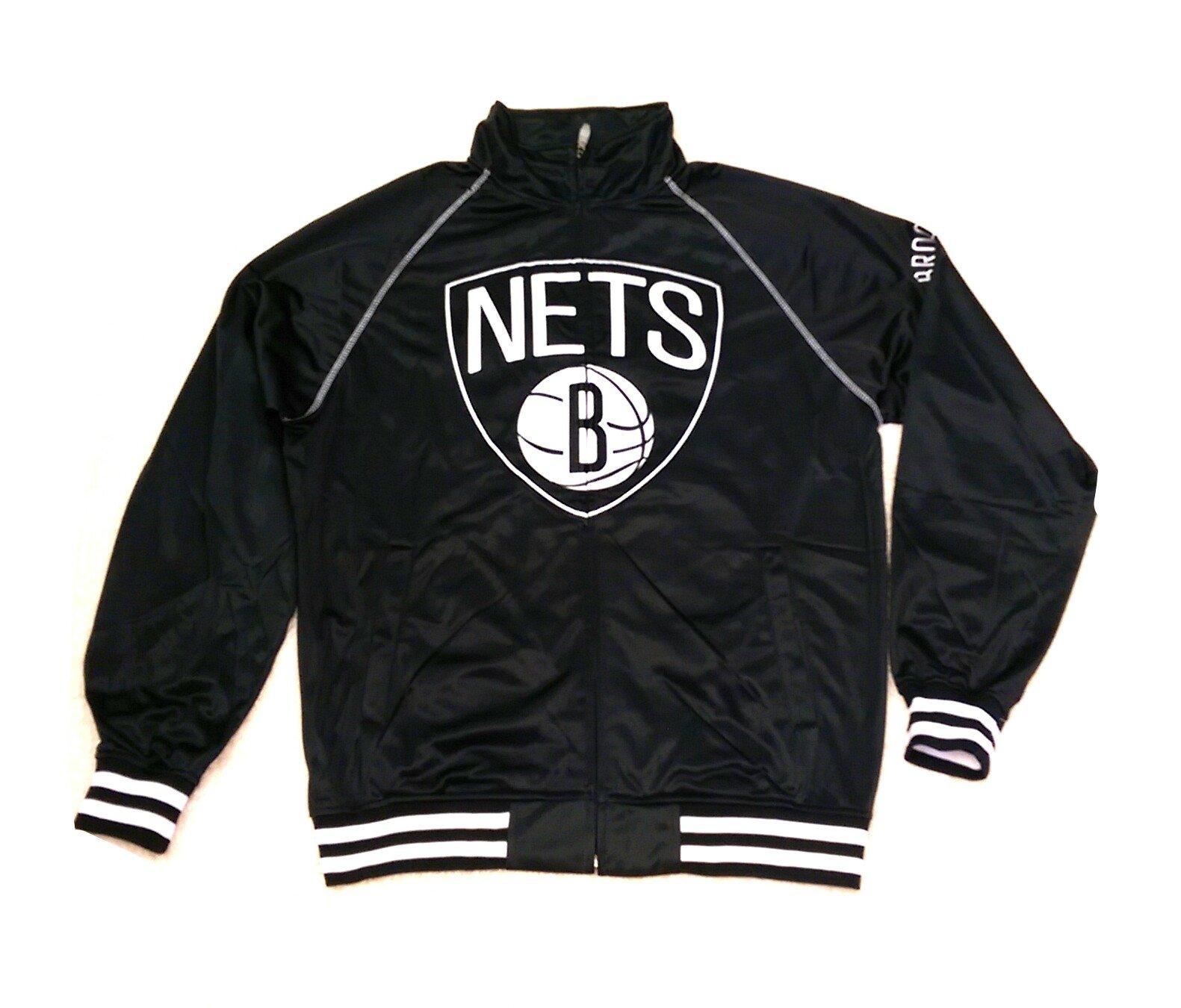 Majestic Mens NBA Brooklyn Nets Warm-Up Jacket Black/White (Large)