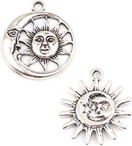 JGFinds Crescent Moon Sun Face Charm Pendants, 10 of Each in Silver Tone, About 1 Inch