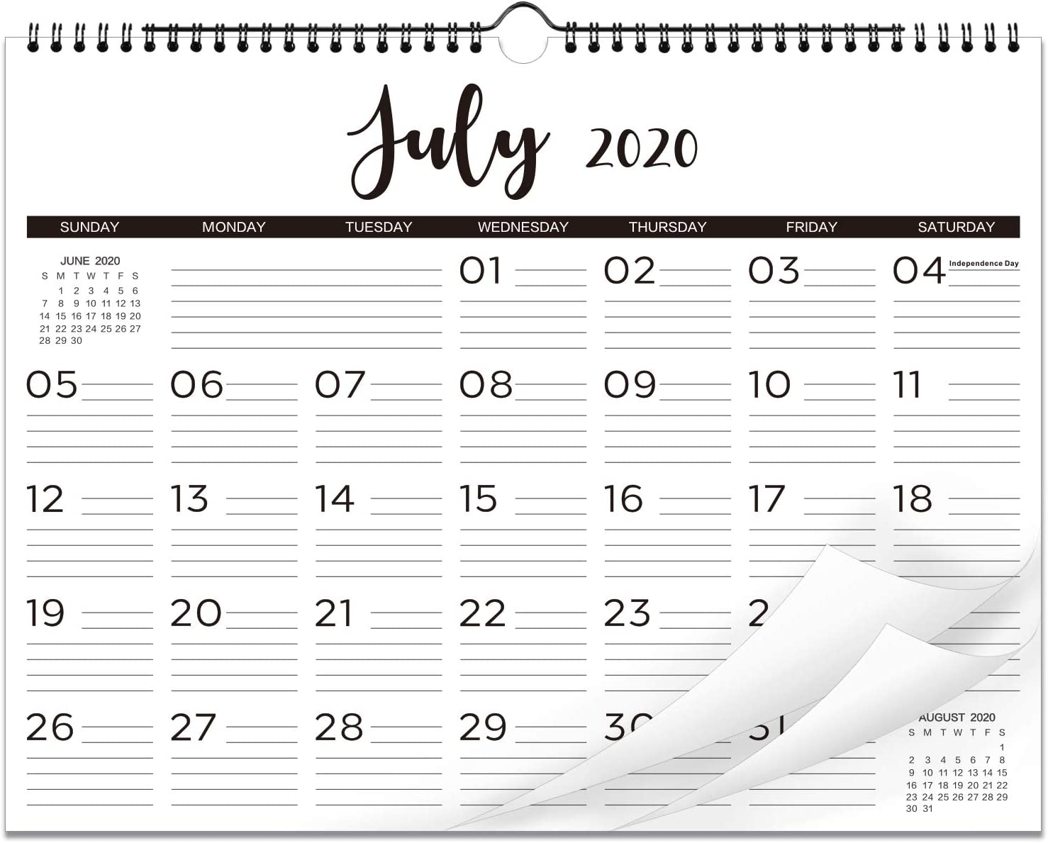 "2020-2021 Calendar - 18 Monthly Wall Calendar with Thick Paper, 15"" x 11-1/2"", Twin-Wire Binding with Hanging Hook + Ruled Daily Space with Marked Holidays, July 2020 - June 2021 - Black and White"