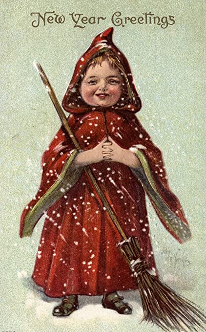 new year greetings child dressed in red cloak 9x12 art print wall decor