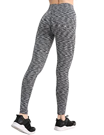 2111a85e9b3 CHRLEISURE Women High Waisted Workout V Shape Waist Athletic Leggings  Sports Pants Striped Black