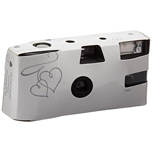 WEDDINGSTAR Disposable Cameras with Flash White and Silver Enchanted Hearts Pack of 10