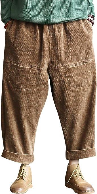 Youlee Mujer Cintura elástica Algodón Pantalones de Pana ...