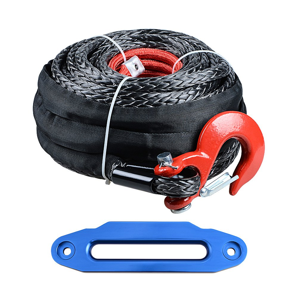 Astra Depot Set 92' x 1/2'' Synthetic Winch Rope w/Protective Sleeve + Red Hook + 10'' Hawse Fairlead Glossy Blue for Jeep UTV KFI Truck Boat Ramsey by Astra Depot