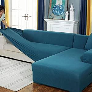SHAFAJNC Solid Color Anti-Slip Anti Scratch Couch Cover,1 2 3 4 Seater Stretch Elastic Sofa Slipcover Spandex Sectional L Shape Sofa Cover Pets Kids Children Dog Cat-T-Oversized Sofa