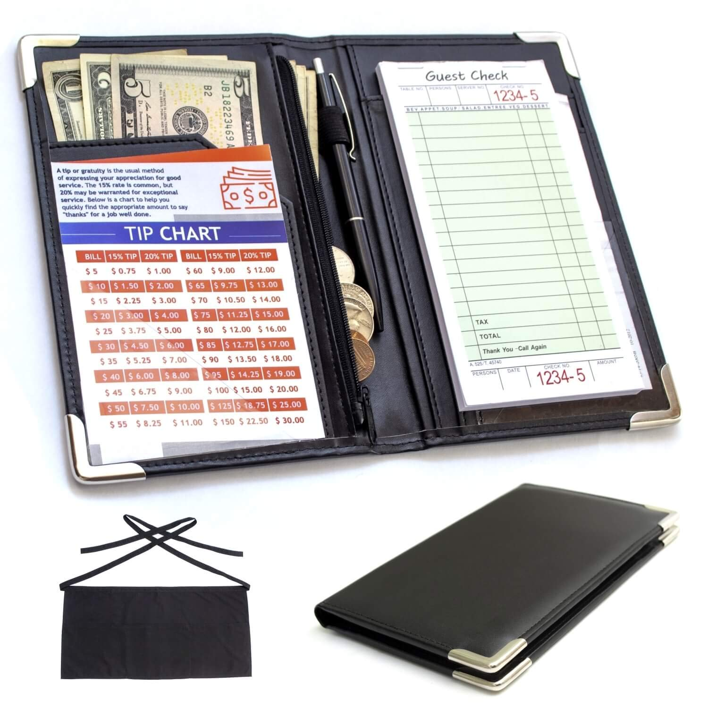 Waiter Book Server Wallet and Apron - Waiter Wallet Organizer - Zipper Guest Check Holder - Professional Waiter Waitress Server Book with Free Waist Apron and Bonus One Tip Chart