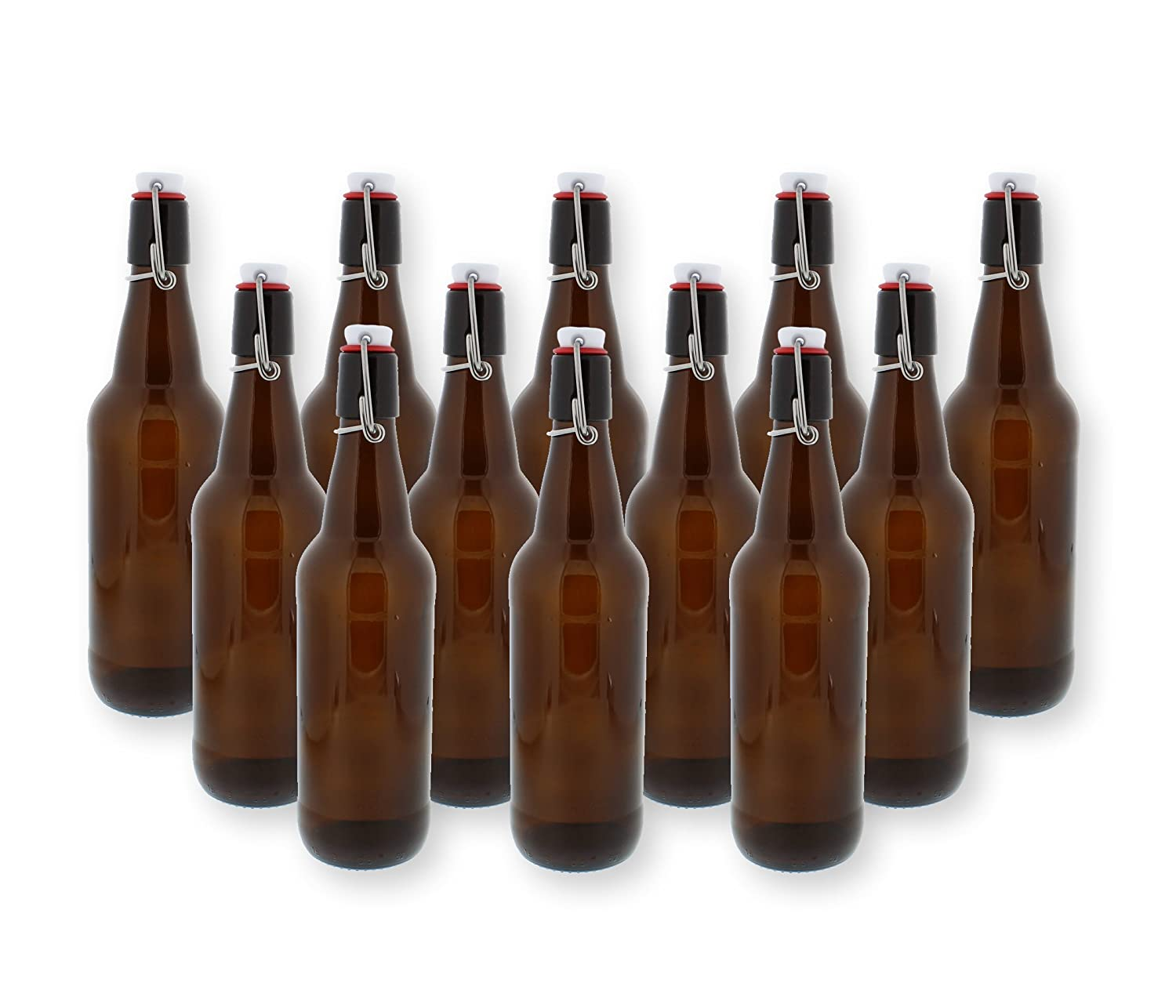 Swing Top Bottles w/Caps - 16.9oz, Amber Glass, Reusable for Homebrew - 12 pack G Francis COMINHKPR128242