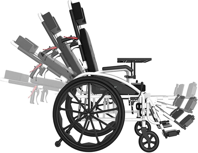 Silla de Ruedas eléctrica, Comfort Sillas de ruedas plegable ligero, con placa de cena con orinal Silla acolchada Pan 90-180 ° Ajuste silla de ruedas silla de ruedas for minusválidos ,4 Ruedas Andador