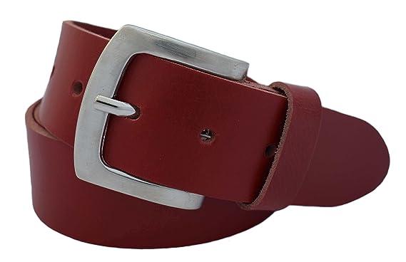 f2c9275b401294 GREEN YARD Weicher Ledergürtel 4 cm breit in Rot für Herren aus einem Stück  Büffelleder –