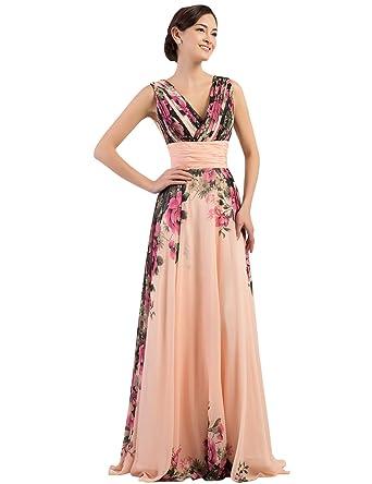 Amazon.com: Grace Karin Floral Print Graceful Chiffon Prom Dress for ...