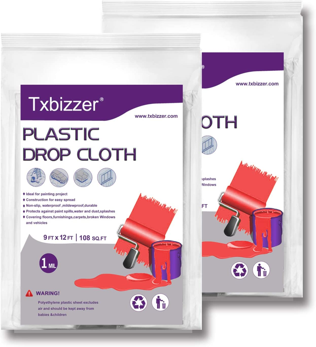 Txbizzer 2 Piece 1 Mil Heavy Duty Painter Plastic Drop Cloths Sheet,Waterproof Anti-dust Furniture Cover,9x12 Feet Disposable Tarp for Painting for Couch Cover and Furniture Cover (2 Pack)