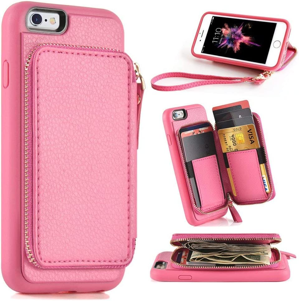 ZVE Case for Apple iPhone 6 Plus and iPhone 6s Plus, 5.5 inch, Leather Wallet Case with Credit Card Holder Slot Zipper Wallet Pocket Purse, Cover for Apple iPhone 6 / 6s Plus - Rose