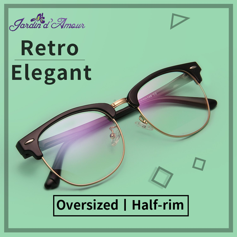 2b50ed6f1b5 Amazon.com  Jardin d amour Vintage Retro Clubmaster Classic Half Frame Horn  Rimmed Clear Lens Glasses JA1382 GOLD  Clothing