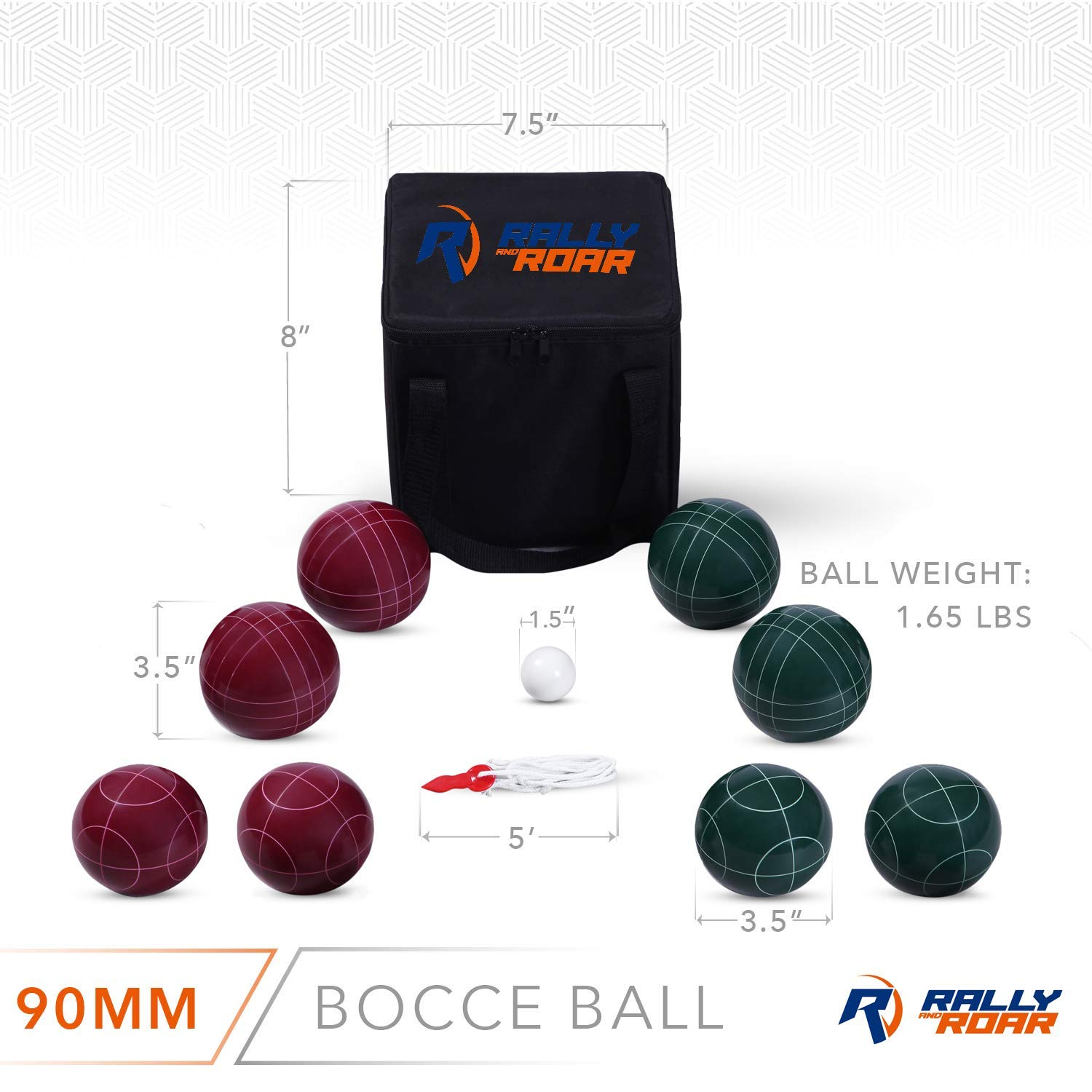 Bocce Ball Set Classic 90MM /& Premium 100MM Options and Kids Complete Bocce Yard and Lawn Games with Carrying and Storage Case by D1S//Rally /& Roar Renewed Families Fun Outdoor Bocce Game for Adults