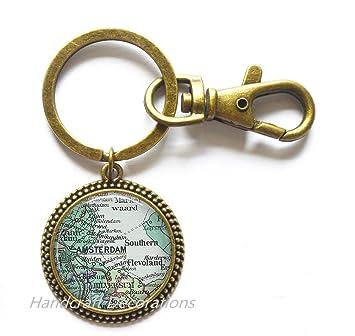 Charming Keychain,Amsterdam map Keychain, Amsterdam Key Ring ... on