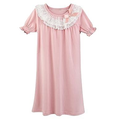 d76bfdb2f5040 Micoce 女の子 子供服 ワンピース パジャマ キッズ 半袖 綿 夏 レース ネグリジェ 部屋着 綿 3