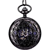 Steampunk Vintage Roman Letters Design Case Mechanical Pocket Watch with Chains for Xmas Gifts