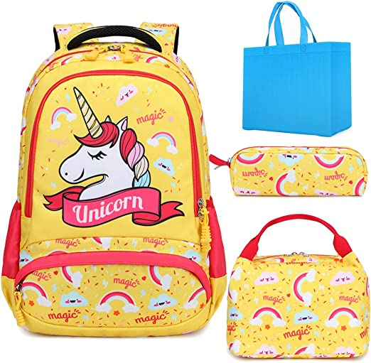 Teen Girls Backpack Set Kids School Bookbag with Lunch Tote Bag Pencil Case Cute Unicorn School Backpacks