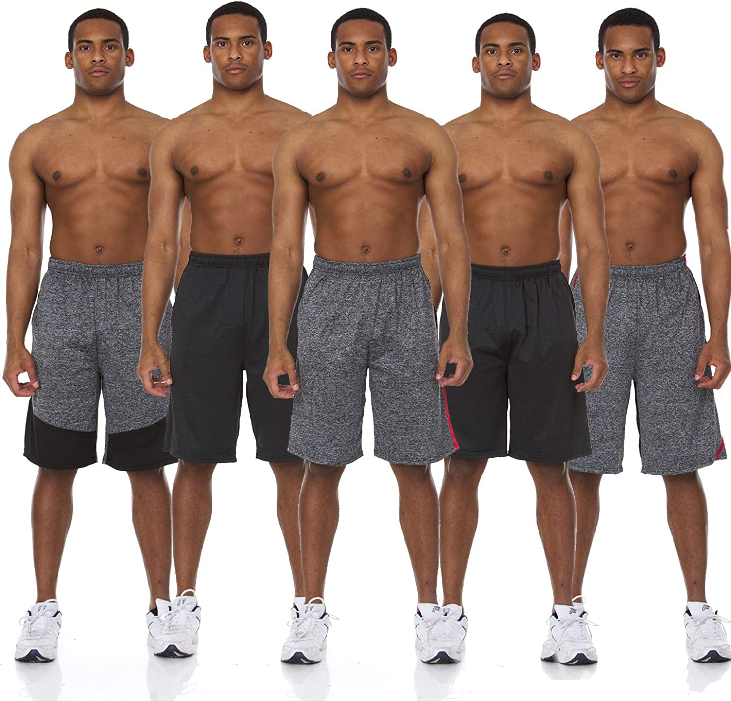 5 Pack: Men's Active Performance Athletic Basketball Gym Knit Shorts with Pockets