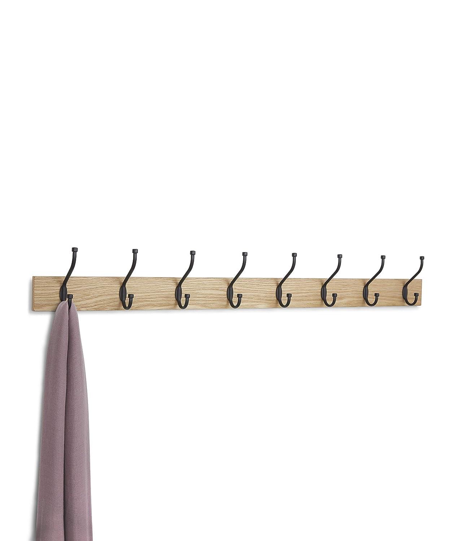 Naturale Basics Confezione da 2 Appendiabiti da parete 8 ganci standard