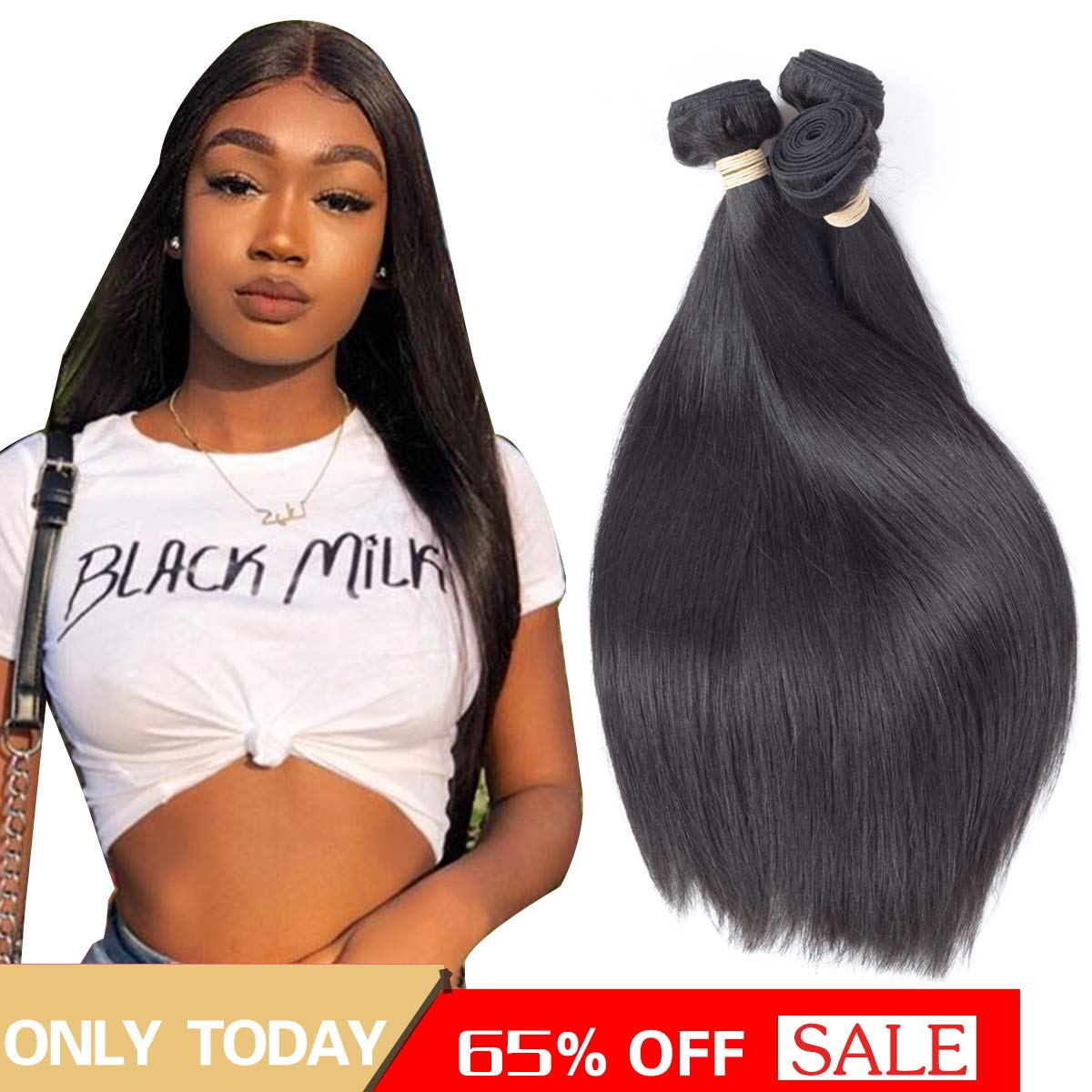 Beauhair Brazilian Straight Hair 3 Bundles 20 22 24inch Grade 8A Virgin Straight Human Hair Bundles Natural Black Color Hair Weave Extentions