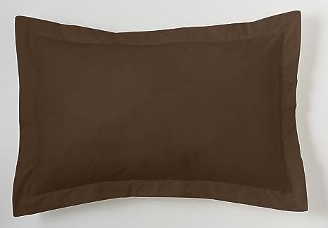 ES-TELA - Funda de cojín COMBI LISO 200 HILOS algodón peinado, color Chocolate - Medidas 50x75+5 cm. - 100% Algodón - 200 Hilos - Acabado en pestaña