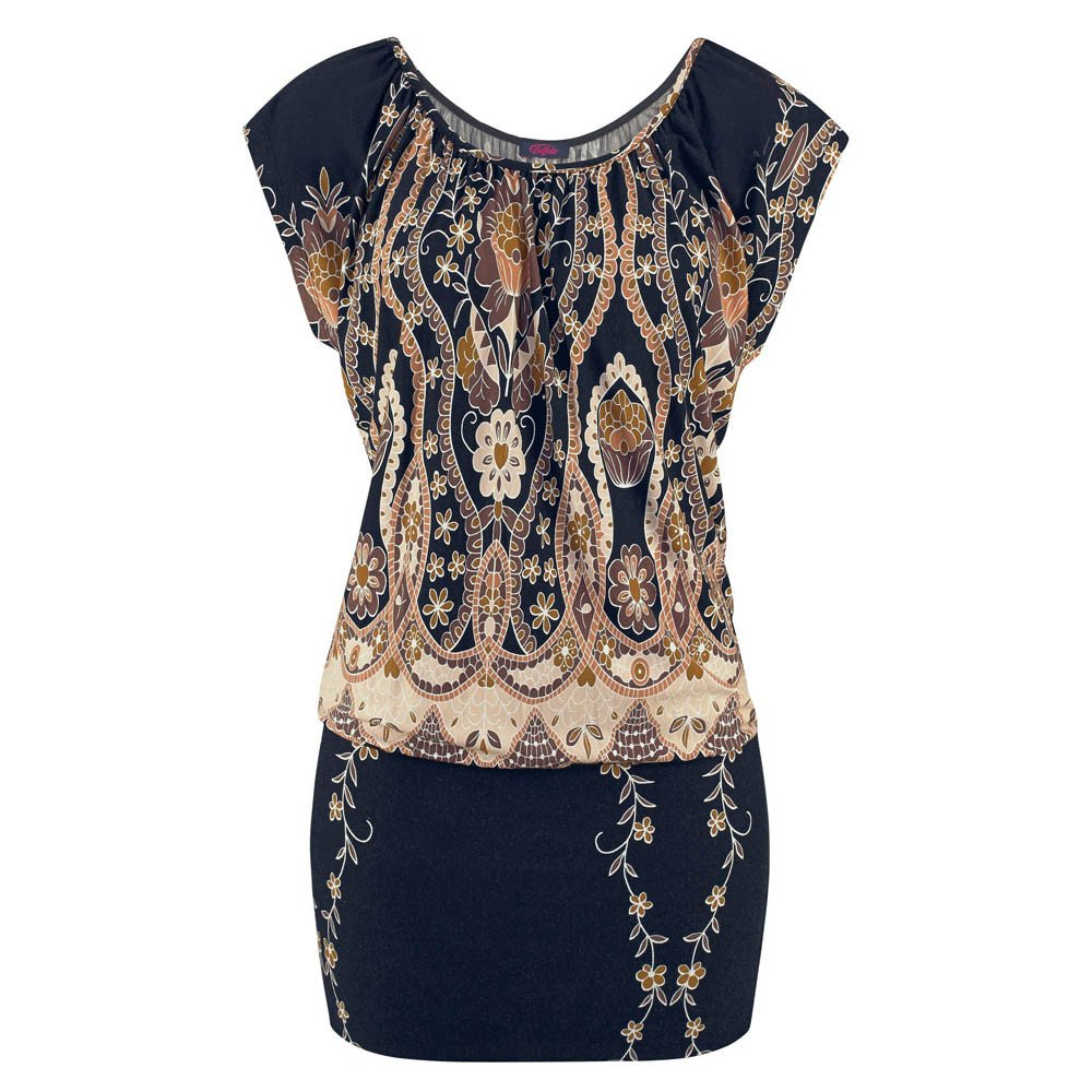iLUGU O-Neck Short Sleeve Mini Dress for Women Boho Print Midi Dresses for Women Black