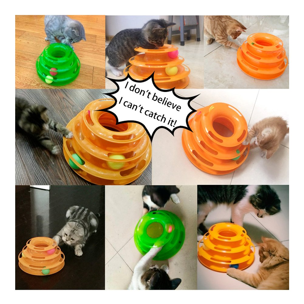 Cat Toy Balls Crazy Ball Pet Trilaminar Tower of Tracks Kitten Interactive Toys