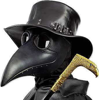 PartyCostume - Plague Doctor Mask - Long Nose Bird Beak Steampunk Halloween Costume Props Mask
