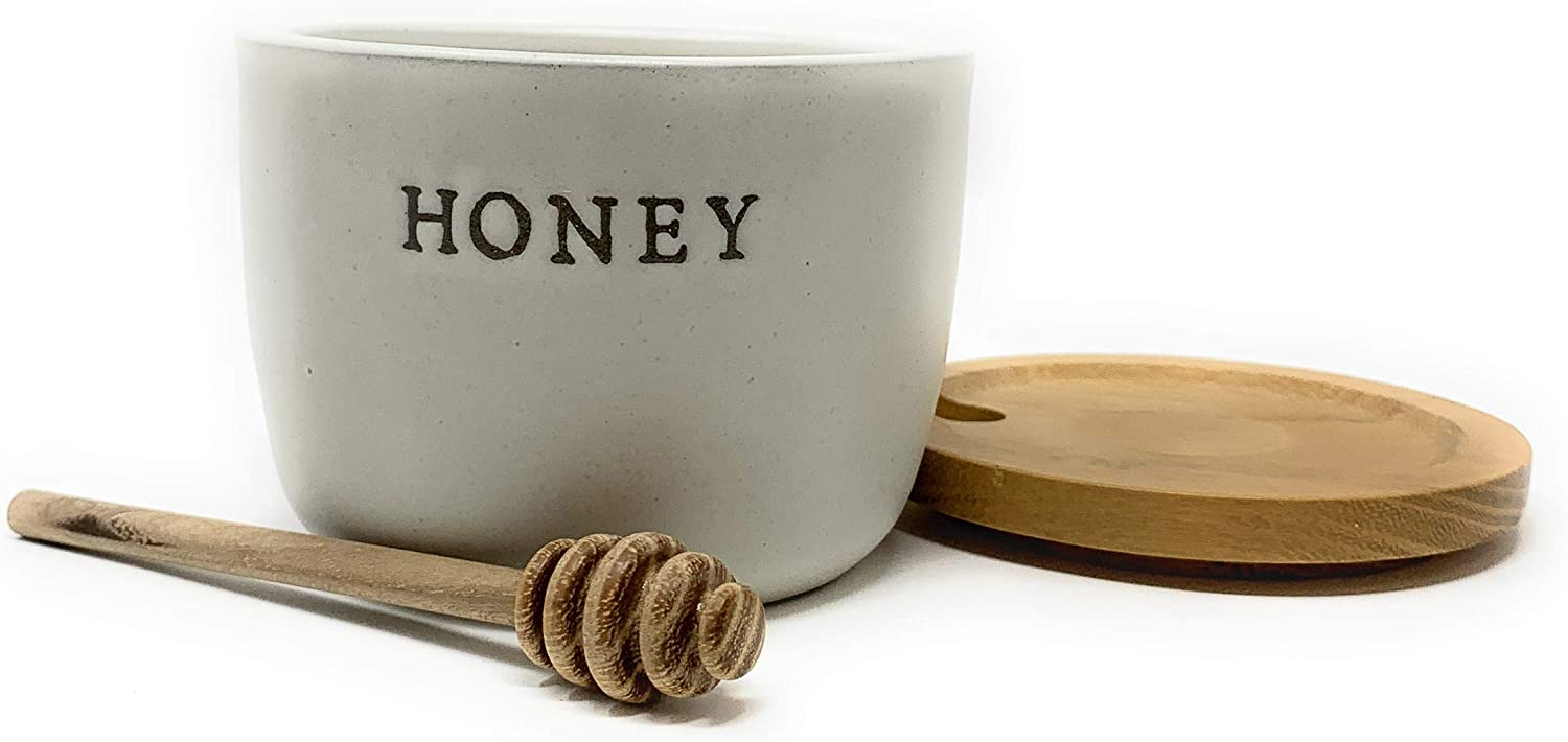 Stoneware Honey Pot with Acacia Wood Dipper and Lid by Hearth and Hand with Magnolia