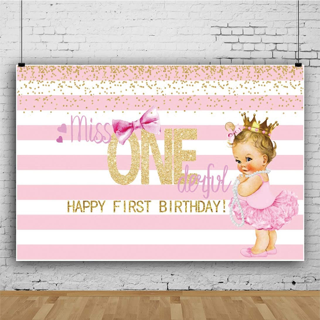 YEELE Girls 1st First Birthday Party Backdrop 7x5ft Miss Onederful Party for Cute Ethnic Girl Photography Background Pink Stripes Golden Sequins Cake Table Decor Photo Booth Props Vinyl Wallpaper