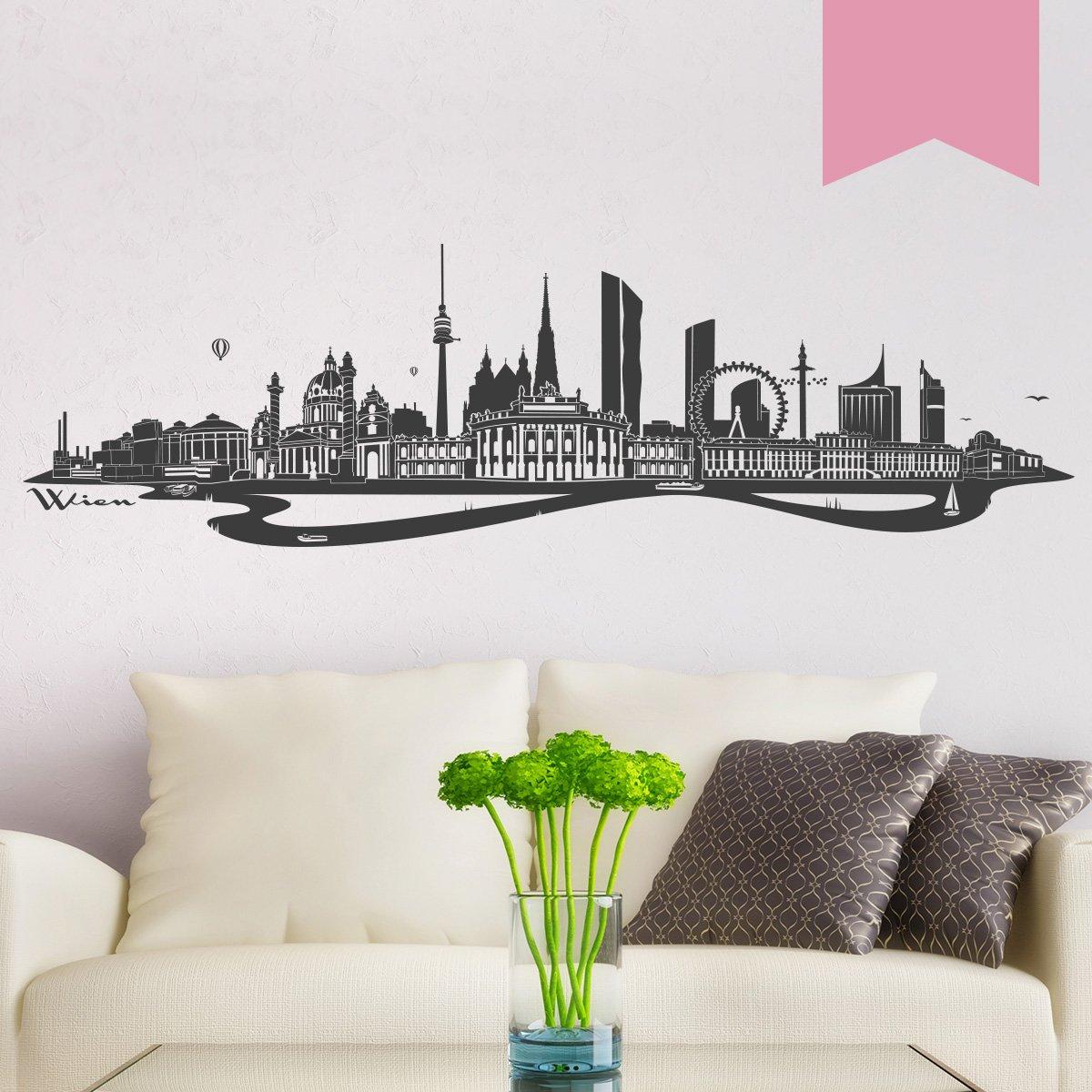 WANDKINGS WANDKINGS WANDKINGS Wandtattoo - Skyline Wien (mit Fluss) - 300 x 86 cm - Mittelgrau - Wähle aus 6 Größen & 35 Farben B078SC6J1L Wandtattoos & Wandbilder 813ea3