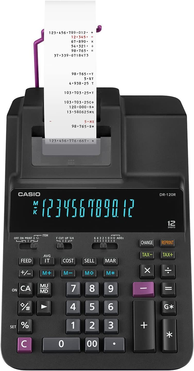 Casio Office Products DR-120R Full-Sized Printing Calculator, Black,Desktop