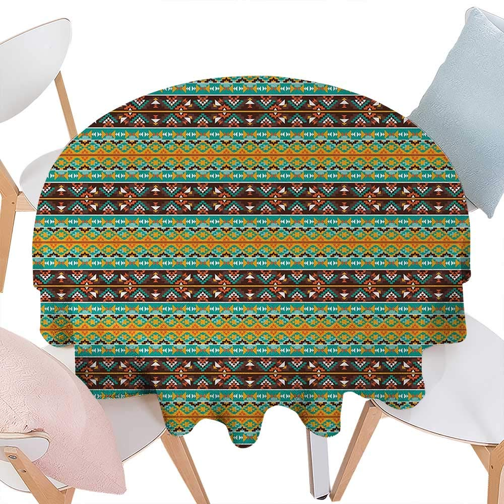 cobeDecor Native American Dinner Picnic Round Table Cloth Retro Style Tribal Aztec Motif Pattern with Geometric Details Waterproof Round Table Cover for Kitchen D60 Brown Marigold Turquoise