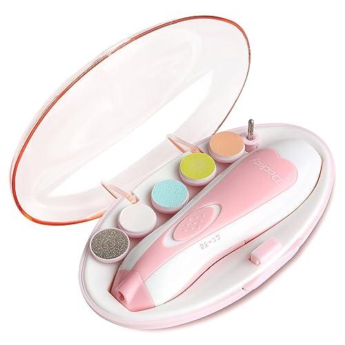 DECKEY Lima de uñas para bebés Juego de acabados de niño Cortauñas seguro para los pies y las uñas del bebé Cuidado pulido y recorte (Rosa)