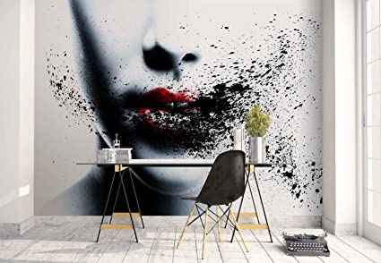 photo wallpaper wall mural woman face red lips smudges theme artphoto wallpaper wall mural woman face red lips smudges theme art \u0026 creative