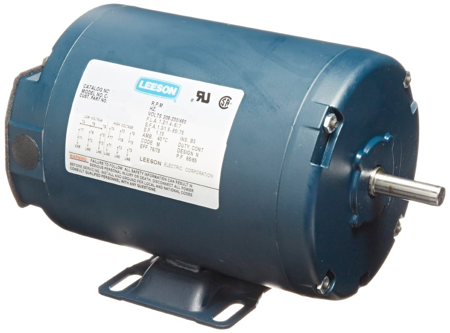 Leeson 102918.00 TENV Rigid Base Motor, 3 Phase, S56 Frame, Rigid Mounting, 1/2HP, 1800 RPM, 208-230/460V Voltage, 60Hz Fequency