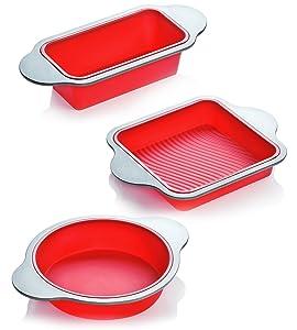 Silicone Bakeware Set | 3-Piece Professional Non-Stick Silicone Baking Set by Boxiki Kitchen | Includes Round Cake Mold Pan, Square Cake Mold Pan, Bread Loaf Mold Pan | FDA Silicone