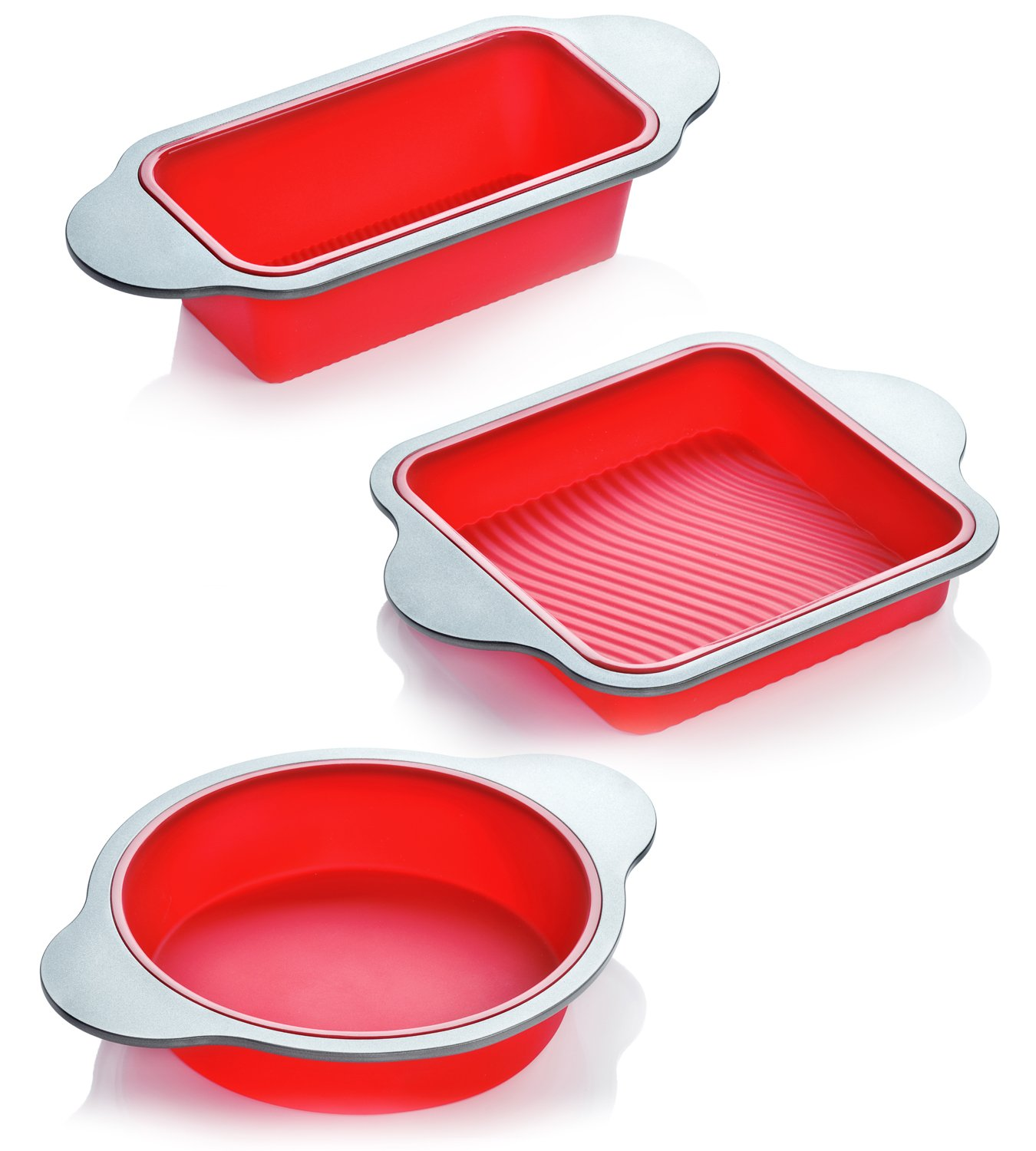 Silicone Bakeware Set | 3-Piece Professional Non-Stick Silicone Baking Set by Boxiki Kitchen | Includes Round Cake Mold Pan, Square Cake Mold Pan, Bread Loaf Mold Pan | FDA Silicone