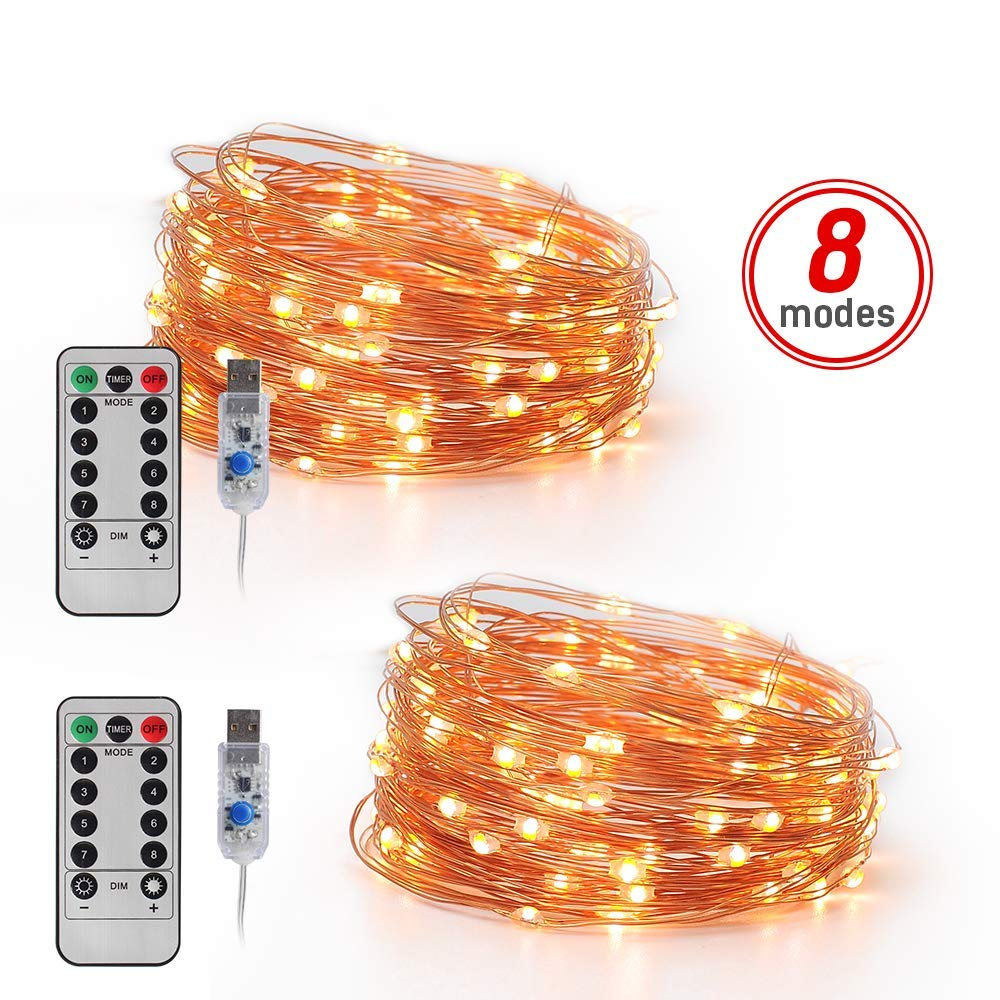 2 Pack Twinkle Lights for Bedroom Patio 8 Modes Warm White Changing Copper Wire Lights with Remote 16.6FT 50 LED USB Plug in Fairy String Lights Party LED Fairy Lights,
