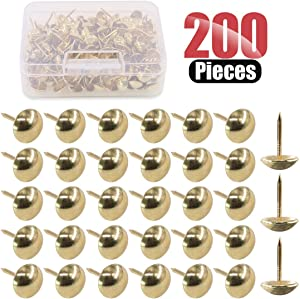 Hilitchi 200-Pieces 7/16''(11mm) Antique Upholstery Nails Tacks Furniture Tacks Upholstery Tacks Thumb Tack Push Pins Assortment Kit (Gold)