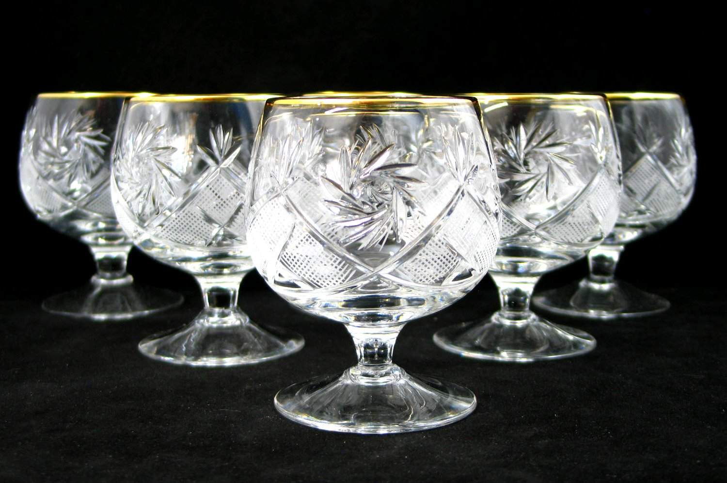 SET of 6 Russian Cut Crystal Cognac Scotch Whiskey Stemmed Snifter Goblet Glass 24K Gold Rimmed 10 Oz. Vodka Liquor Old-fashioned Glassware Hand Made by Neman Crystal (Image #5)