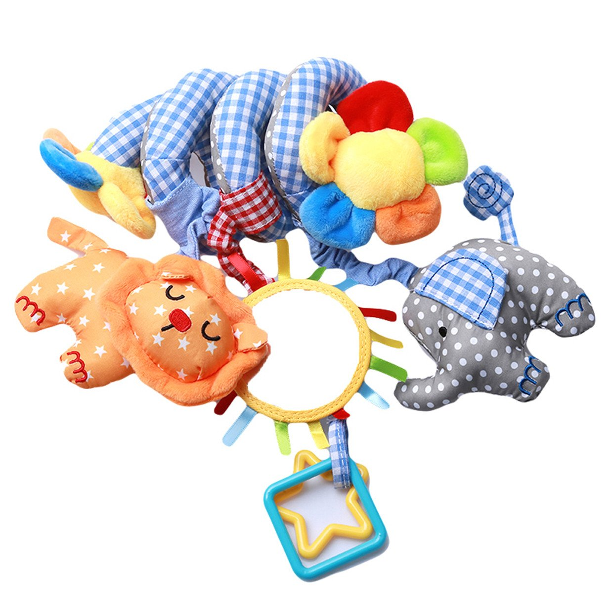 EJY Baby Plü schtiere, Kleinkindspielzeug,Beschwichtigen Schlaf Spielzeug,Kinderwagen, der Spielzeugauto-Drehmaschine hä ngenden Baby Rasseln,Blau Elefant 88_Store